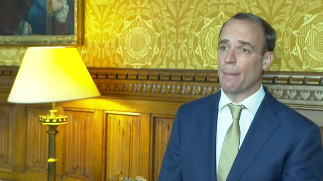 dominic raab interview re high court ruling; england: london: int dominic raab mp interview sot - [re high court ruling in harry dunn case] important... - criminal investigation stock videos & royalty-free footage