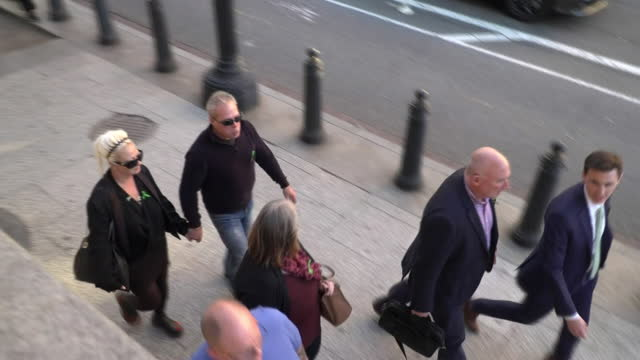 harry dunn's parents tim dunn and charlotte charles arriving at court for the hearing into whether anne sacoolas had diplomatic immunity - justice concept stock videos & royalty-free footage