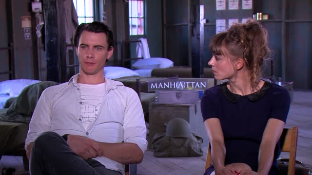 harry lloyd & katja herbers on how these themes resonate in 2014 at the 'manhattan' press junket on june 21, 2014 in santa fe, new mexico. - manhattan video stock e b–roll