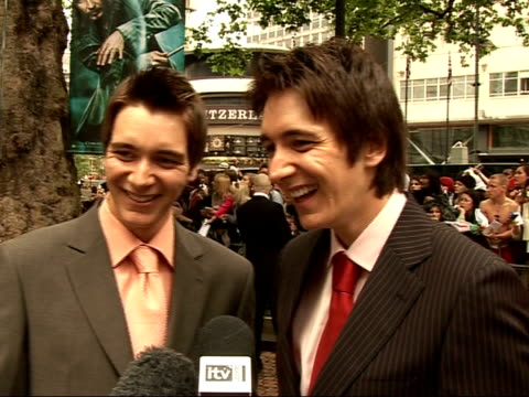 'harry potter and the order of the phoenix' interviews with cast james phelps and oliver phelps interview sot get recognised when hair is dyed ginger... - oliver phelps stock videos & royalty-free footage