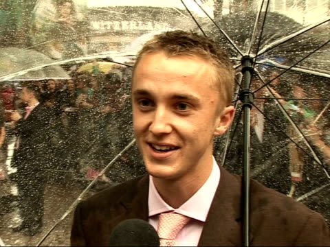 'harry potter and the order of the phoenix' interviews with cast tom felton interview sot the english summer is not very reliable is it / i enjoy the... - tom felton stock videos & royalty-free footage