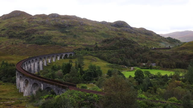 harry potter hogwarts express in the glenfinnan bridge with autumn colors. - mystery stock videos & royalty-free footage