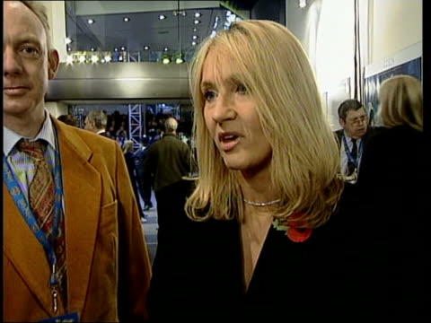 harry potter premiere itn daniel radcliffe interview sot talks of it being scary rowling interview sot very happy with the adaptation ext at night... - j.k. rowling stock videos and b-roll footage