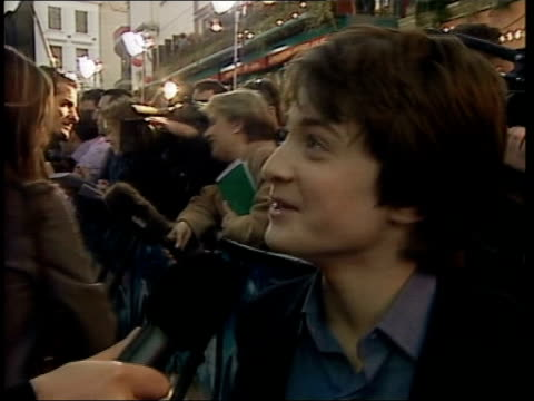 London Leicester Square Cinema staging world premiere of 'Harry Potter and the Philosophers Stone' as fireworks go off People waiting to see stars...