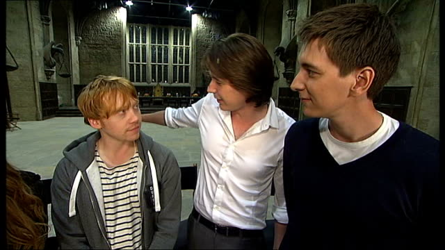 actors interview and gvs sets davis jokes about riding his segway around privet drive mark williams bonnie wright rupert grint and james and oliver... - oliver phelps stock videos & royalty-free footage