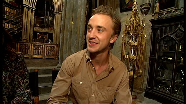 actors interview and gvs sets england hertfordshire int gvs set of dumbledore's office harry potter actors warwick davis natalia tena and tom felton... - harry potter stock videos & royalty-free footage