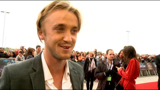 harry potter studio tour tom felton interview sot long hair doing film new project bizarre never expected it to be so huge exciting to be able to see... - tom felton stock videos & royalty-free footage