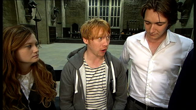 harry potter studio tour various shots of film set of dumbledore's office rupert grint sitting next bonnie wright rupert grint interview sot various... - harry potter stock videos & royalty-free footage