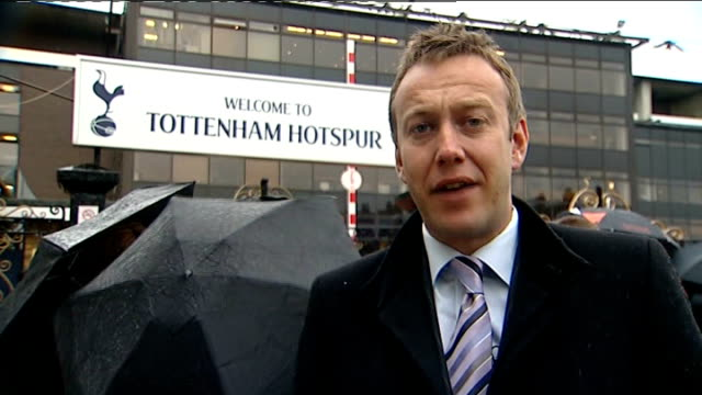 harry redknapp takes over as manager of tottenham hotspur fc ext tottenham fans along outside goodball ground reporter to camera vox pops tottenham... - tottenham hotspur f.c stock videos & royalty-free footage
