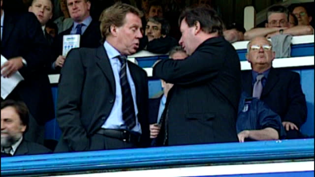 redknapp cleared of tax fraud file england hamshire portsmouth fratton park ext harry redknapp in stands with peter storrie harry redknapp taking... - ハリー レッドナップ点の映像素材/bロール