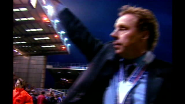 redknapp denies lying date unknown hampshire portsmouth fratton park redknapp in stands with peter storrie redknapp waving to fans with championship... - hampshire stock-videos und b-roll-filmmaterial