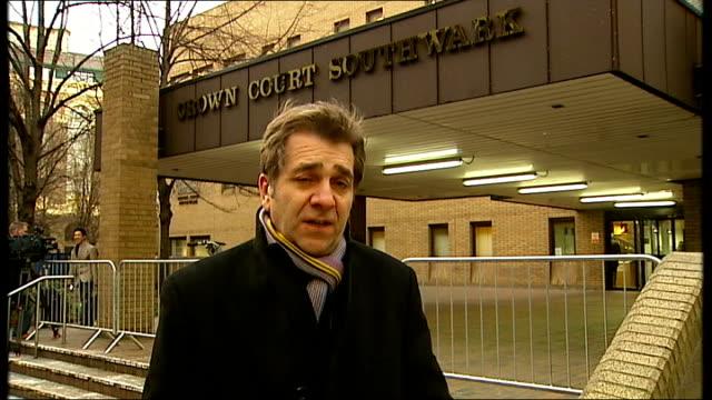 harry redknapp tax evasion trial: redknapp denies lying; london: southwark crown court: ext reporter to camera - ハリー レッドナップ点の映像素材/bロール