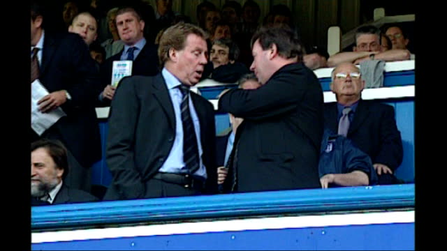 harry redknapp tax evasion trial starts date unknown portsmouth fratton park redknapp in stands with peter storrie redknapp waving to fans with... - ハリー レッドナップ点の映像素材/bロール