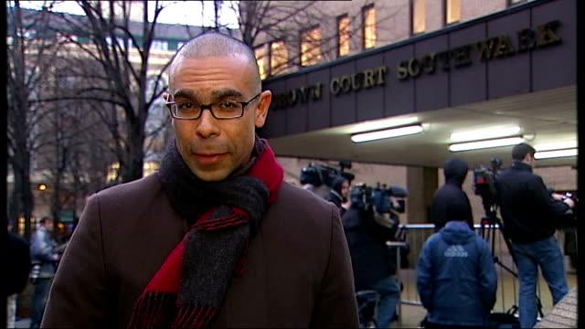 harry redknapp tax evasion trial starts london southwark crown court reporter to camera - ハリー レッドナップ点の映像素材/bロール