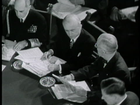 harry s. truman and joseph stalin talk to their advisers while sitting at a round table for the july, 1945 potsdam conference. - potsdam conference stock videos & royalty-free footage