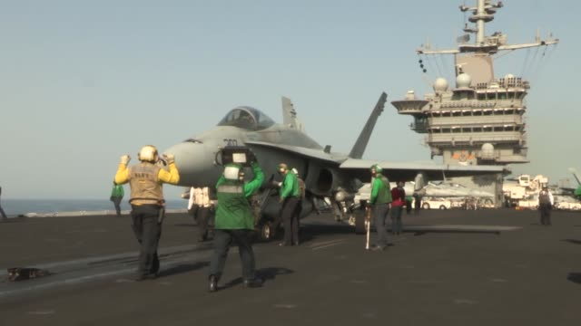 stockvideo's en b-roll-footage met uss harry s truman conducts flight operations in support of operation enduring freedom the uss harry s truman flagship for the harry s truman carrier... - operation enduring freedom