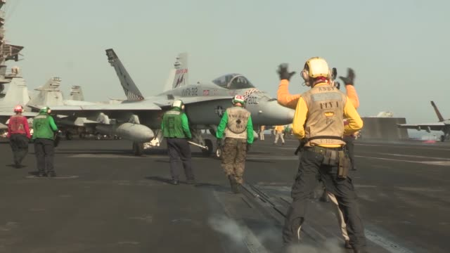 harry s. truman conducts flight operations in support of operation enduring freedom. the uss harry s. truman, flagship for the harry s. truman... - operation enduring freedom stock videos & royalty-free footage