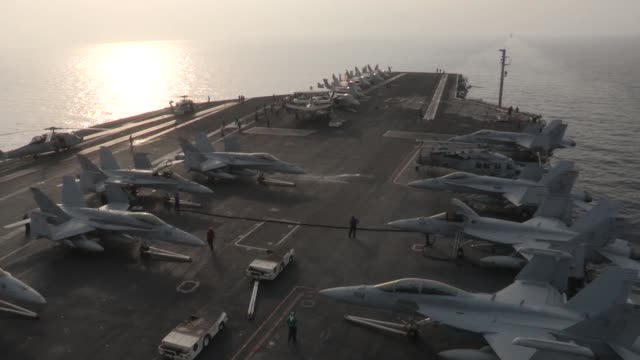 harry s. truman conducts flight operations in support of operation enduring freedom. the uss harry s. truman, flagship for the harry s. truman... - operation enduring freedom stock-videos und b-roll-filmmaterial