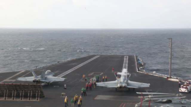 stockvideo's en b-roll-footage met uss harry s truman launches and recovers aircraft in support of operation enduring freedom the uss harry s truman flagship for the harry s truman... - operation enduring freedom