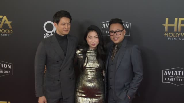 harry shum jr., awkwafina and nico santos at the 22nd annual hollywood film awards at the beverly hilton hotel on november 04, 2018 in beverly hills,... - the beverly hilton hotel stock videos & royalty-free footage