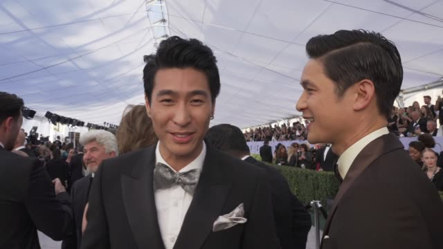 harry shum jr chris pang at the 25th annual screen actors guild awards social ready content at the shrine auditorium on january 27 2019 in los... - screen actors guild awards stock videos & royalty-free footage