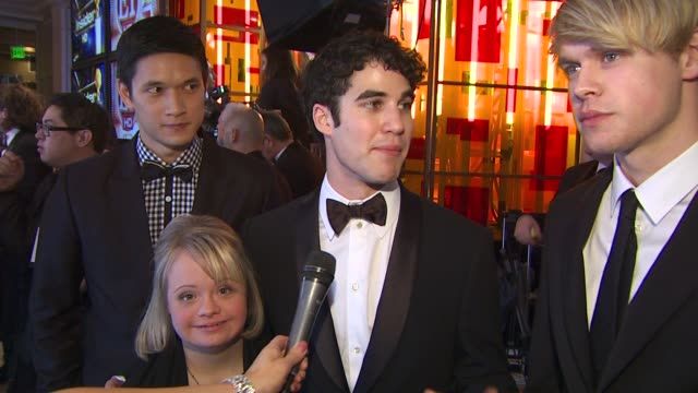 harry shum jr lauren potter darren criss and chord overstreet on 'glee' winning a golden globe at the 68th annual golden globe awards backstage photo... - chord stock videos and b-roll footage