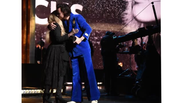 Harry Styles presents Inductee Stevie Nicks onstage at the 2019 Rock Roll Hall Of Fame Induction Ceremony Show at Barclays Center on March 29 2019 in...