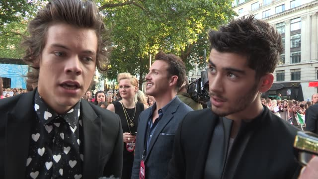 INTERVIEW Harry Styles Zayn Malik on the film thinking of the future at 'This Is Us' One Direction World Premiere at Empire Leicester Square on...