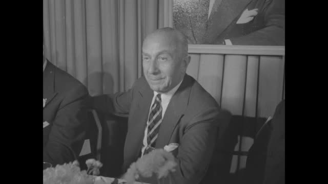 cu harry warner seated at head table at dinner honoring the warner brothers - warner bros stock videos & royalty-free footage