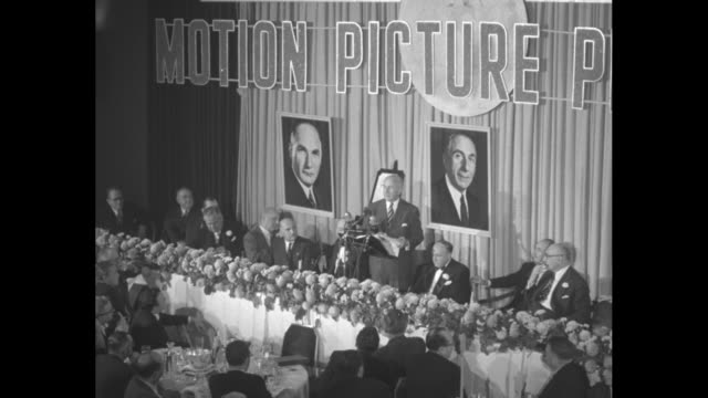harry warner speaking at dinner honoring him and his brothers. - warner bros stock videos & royalty-free footage