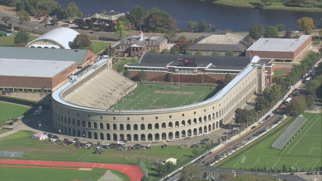 aerial harvard stadium / boston, massachusetts, united states - harvard university stock videos & royalty-free footage