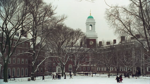 WS Harvard University in Winter, people walking in foreground / Cambridge, Massachusetts, USA