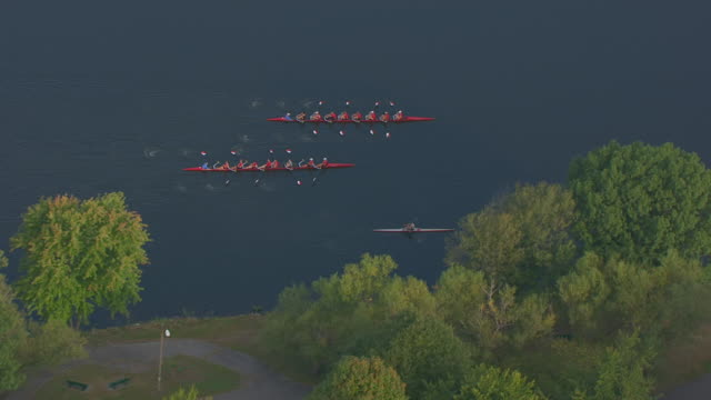 ws zi ts aerial pov harvard university rowing teams out for morning practice on charles river / massachusetts, united states - harvard university stock videos and b-roll footage