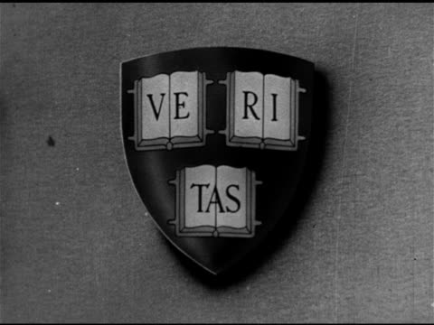 harvard university shield w/ latin inscription veritas . - harvard university stock videos & royalty-free footage