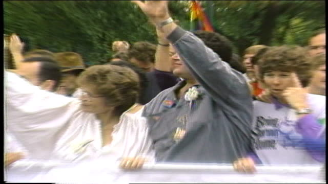 harvey fierstein holding sign with protesters in washington dc - 1987 stock videos & royalty-free footage