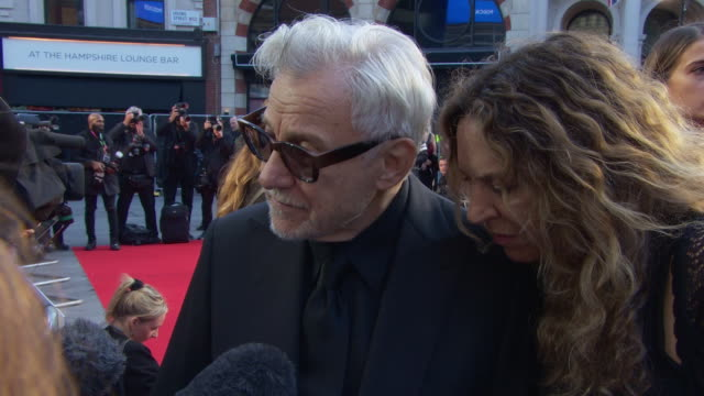 interview harvey keitel actor on working on 'the irishman' and what influences his film choices at 'the irishman' international premiere 63rd bfi... - premiere stock-videos und b-roll-filmmaterial