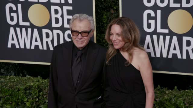 harvey keitel and daphna kastner at 77th annual golden globe awards at the beverly hilton hotel on january 05, 2020 in beverly hills, california. - ハーヴェイ カイテル点の映像素材/bロール