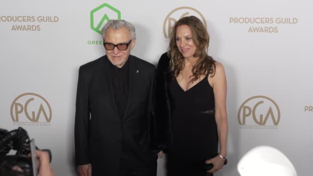 harvey keitel and daphna kastner at the producers guild awards at hollywood palladium on january 18, 2020 in los angeles, california. - ハーヴェイ カイテル点の映像素材/bロール