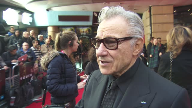 stockvideo's en b-roll-footage met interview harvey keitel on his and michael caine's shared military history at 'youth' gala bfi london film festival at vue leicester square on... - first line of defense filmtitel
