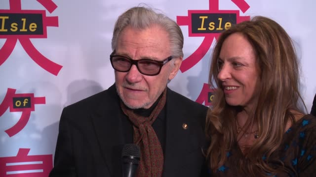"""harvey keitel recounts a funny story of the casting call at """"isle of dogs"""" new york special screening presented by fox searchlight pictures at the... - ハーヴェイ カイテル点の映像素材/bロール"""
