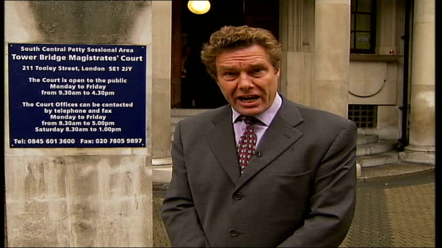 London Tower Bridge Magistrates' Court EXT i/c GV Tower Bridge Magistrates' Court TILT Westminster Powell along though park with Tracy Morgan