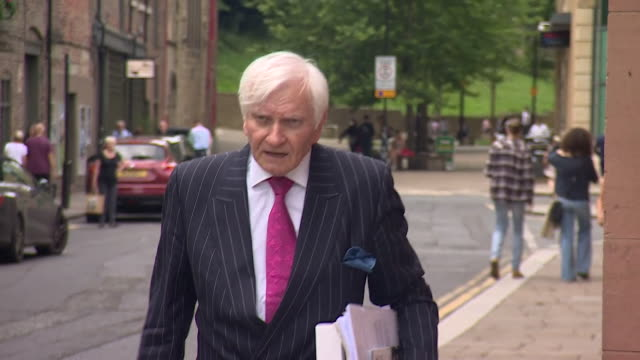 harvey proctor former conservative mp accused by carl beech of murder and child sex abuse arrives at newcastle crown court to see him be sentenced - purity stock videos & royalty-free footage