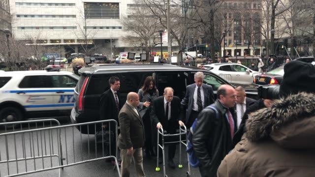 harvey weinstein arrives at manhattan criminal court on monday jan 6 2020 in manhattan new york - social movement stock videos & royalty-free footage