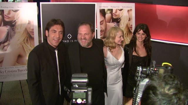 Harvey Weinstein Javier Bardem Penelope Cruz Patricia Clarkson at the 'Vicky Cristina Barcelona' Premiere at New York NY