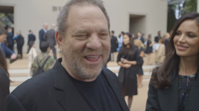 vidéos et rushes de interview harvey weinstein on matchmaking for bradley cooper and cara delevingne staring in his film at burberry prosum ss15 at kensington gardens on... - burberry