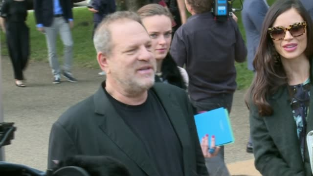 harvey weinstein sexual abuse allegations further abuse allegatios emerge lib london ext harvey weinstein stands talking with others as arriving at... - itvイブニングニュース点の映像素材/bロール