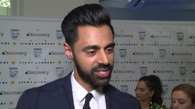 interview hasan minhaj on what it means to be here at the natural resources defense council presents night of comedy benefit hosted by seth meyers at... - seth meyers stock videos and b-roll footage