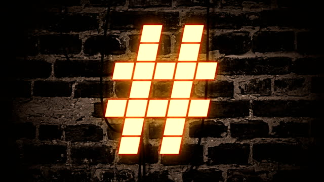 hashtag neon sign - man made object stock videos & royalty-free footage