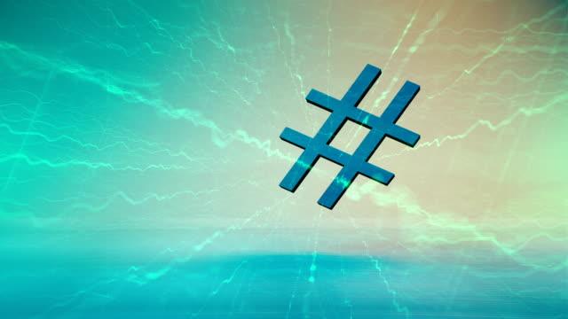 vídeos de stock, filmes e b-roll de símbolo do hashtag, fundo da tecnologia - brincadeira de pegar