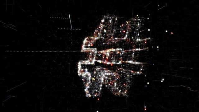 vidéos et rushes de symbole de hashtag, fond de technologie - messagerie en ligne